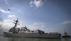 USS Chung-Hoon (DDG 93) departs Djibouti during exercise Cutlass Express.