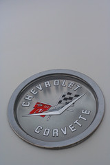 1960 Corvette trunk badge (Light Orchard) Tags: car auto automobile sports antique classic vintage old restored chevrolet chevy corvette vette 1960 american ©2019lightorchard bruceschneider