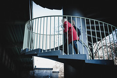 somebody is watching (Zesk MF) Tags: people street red stairs treppens teps watching candid zesk cologne x100f fuji urban humans strase color