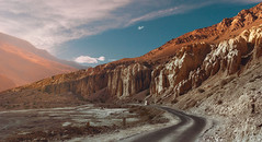 Nature's Castle .. (tchakladerphotography) Tags: landscape colorful rugged road car sky clouds mountains hills highland himalaya spiti nature naturallight evening atmosphere travel