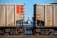 Michigan City (conrail6809) Tags: lighthouse michigancityin indiana lakemichigan lake water pier coal coaltrain nipsco railroad trains
