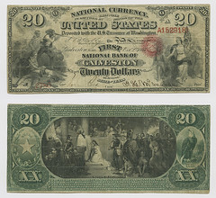 United States $20.00 (twenty dollars) national currency (SMU Libraries Digital Collections) Tags: texas money national us united states currency paper banks notes note banknote banknotes chartered bank banking galveston galvestoncounty