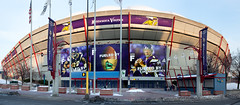2010 panorama of the Hubert H. Humphrey Metrodome in Minneapolis, Minnesota with photos of NFL Vikings quarterback Brett Favre and running back Adrian Peterson (thstrand) Tags: adrianpeteson advert advertise advertisement advertising airsupportedroof america american architecture arena brettfavre building buildings builtstructure business celebrities celebrity communications dome domed downtown exterior famouspeople famousperson footballfield historicsite history huberthhumphreymetrodome huberthumphrey industry landmark landmarks mn metrodome minneapolis minnesota minnesotavikings nfl nationalfootballleague nobody outside panorama panoramicview photos player players prosports professionalsports sign signs sport sports stadium stadiums structure structures team teams us usa unitedstatesofamerica