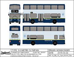 Dublin Bus Leyland Olympian RH147 in Test Livery (Hongkonger's Collection) Tags: busdrawing dublinbus busathacliath republicofireland ireland dublin leyland olympian rh147 92d147