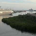Florida - Tampa: Narrow and winding exit of the big cruise ships from the cruise terminal to the sea thumbnail