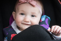 Smiles (HattyGlaird) Tags: baby babygirl smallchild child 50mm18 winter cute pink bow feminine small children fingers closeup portrait eyes eyelash smiles