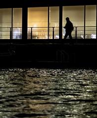 Alone on the canal (joshkfabian) Tags: city light playingwithlight scotland beginner shadow water canal edinburgh nikon 35mmprimenikon dx primelens night