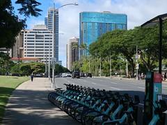 Honolulu Colours - Downtown Buildings (Pushapoze (NMP)) Tags: hawaii oahu honolulu downtown church eglise capitol museum musee buildings batiments bicyclettes palms