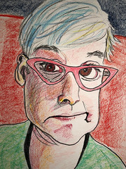 Rebecca (Gila Mosaics n'stuff) Tags: portrait art artist jkpp portraitparty glasses prismacolor