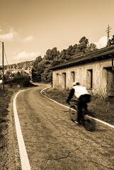 Ciclista solitario. (Ricardo Pallejá) Tags: virado sepia nikon d500 street road tokina1116 tarragona priorat catalonia carretera