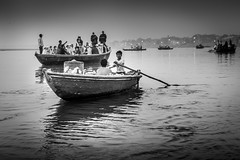 Boat at Ganges (alvis2603) Tags: varanasi gangesriver bw blackandwhite boat river