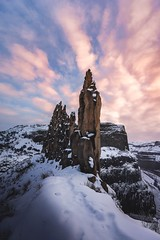 Winter's Crown (StevenScarcello) Tags: cold winter snow natural earth nature travel pink gold blye color colors landscape scenery crown clouds sunrise sunset sky rocks rock spires washington pnw palousefalls palouse