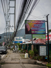 Spider Service (grapfapan) Tags: signs advertising streetphotography cabling wires kamalabeach phuket thailand travel