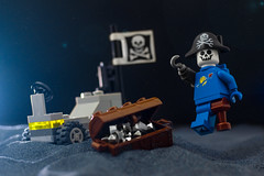 """""""Treasure, TREASURE!"""" - Captain Bones, Space Pirate (thereeljames) Tags: spaceman space pirate lego legophotography toyphotography toys minifigure"""