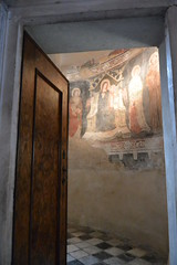 frescoes (Hayashina) Tags: mosaics bergamo italy door church