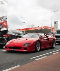 Ferrari F40, in traffic in Central Dublin (orangecalipers1) Tags: summer car supercar red dublin ireland italy ferrarif40 f40 ferrari