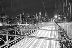 Light Trails, Brooklyn Bridge (Elyssa Drivas) Tags: newyork newyorkcity nyc nightphotography night lights longexposure lowermanhattan lowereastside blackandwhite brooklyn brooklynbridge brooklynites city cityscape oneworldtrade manhattan architecture buildings lighttrails nightscape nightshooters nightlife eastside eastriver