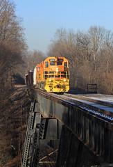 Connoquenessing River Bridge (GLC 392) Tags: connoquenessing river bridge ellwood city pa pennsylvania emd sd45 sd45r sd452 sd403 btnc buffalo pittsburgh pb bp bprr 451 3331 snow woods railroad railway train