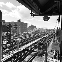 To the City (thefoodtool) Tags: subways bw blackandwhite skyline streetphotography urban queens nyc