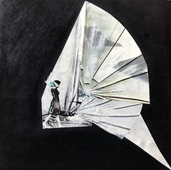 """""""Le verre qui passe..."""" Hommage à Marcel Duchamp (woltarise) Tags: papierdécoupés hommage marcelduchamp collage grattages cartonnoir août1990 montréal isabellewolter ponçage iphone7"""