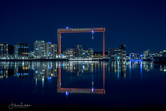 I Love My Hometown (Fredrik Lindedal) Tags: cranes crane water reflection reflections city cityscape cityview nikon nightshot night nightlights nightphoto nighshoot lindedal lights gothenburg göteborg göteborgshamn götaälv sweden sverige