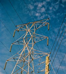 Lines in The Sky (The Vintage Lens) Tags: electric lines power blue skies grid