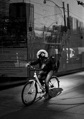 When it doubt, pedal it out! (mpmark) Tags: cycling cruising streetphotography canon exposeforthehighlights highlights shadows candid relfections blackwhite bw pedal bike