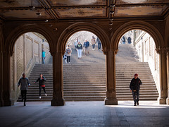 Under the arches (grannie annie taggs) Tags: arches centralpark streetphotography lines newyork