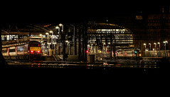 The year closes on Leeds (Andrew Shenton) Tags: green leeds station 158845 night lner northern