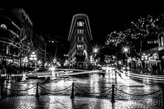 DSC_2270 (Dennis Yip) Tags: exposure gastown long vancouver downtown black white blackwhite bnw light streak car brick road flat iron building architecture arch archilover british columbia blackandwhite monochrome