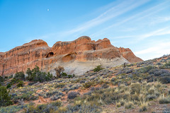 Rocks Sky & Moon (yarnim) Tags: archesnationalpark rocks geology sky moon halfmoon clouds landscape nature utah southwest a7iii a7m3 ilce7m3 sel24105g zoomlens sony arches nationalpark