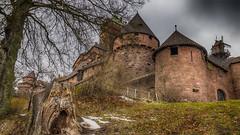Rêve d'enfant... (Fred&rique) Tags: lumixfz1000 photoshop hdr hiver architecture alsace château neige arbres tours ciel gris