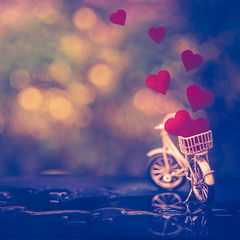 Valentine's Bike (Ro Cafe) Tags: bike hearts helios58mmf2 love outdoors sonya7iii stilllife toy velentinesday bokeh garden miniature romantic vintagelens