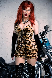Biker Chick, tigress dress and boots.
