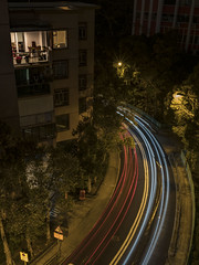Time to turn 換過空間,該轉彎了 (cyangLtravel) Tags: city lifestyle hong kong trails car lights lighting road cityscape street blue red building home