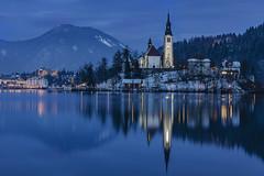 Bled (manuel.thaler) Tags: dusk clock tower evening winter bled slovenia sky water lake blue reflection church julian alps