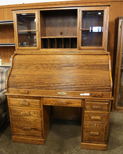 Oak S Roll Top Desk with custom top ($924.00)