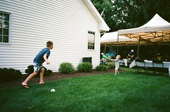 www.roughchoir.com (Rough Choir) Tags: candid baseball backyardbaseball wiffleball 28mm filmphotography 35mm film