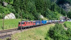 SBB Re 4'4 2 11343 & SBB Re 620 087 (Re 6'6 116897) Top Level, Wassen 09 July 2015 (3) (BaggieWeave) Tags: switzerland swiss swisstrains swissrailways gotthardrailway gotthard gotthardbahn wassen sbb cff ffs re44 re66