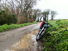 2019 Bike 180, Ride 15, 5th March. (Photopedaler) Tags: 2019bike180 cornishcycling countrylanes backroads rain puddles bicycle