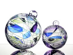 Decorative Orbs (Karen_Chappell) Tags: orb sphere round ball circle blue purple white decor decoration glass product stilllife two 2 reflection pattern shape design art green pastel