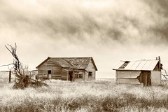 Doldrums (garshna) Tags: monochrome abandoned ruins homestead barn storm
