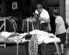 Trousers (Beegee49) Tags: street people man buying clothes black white monochrome bw bacolod city philippines asia