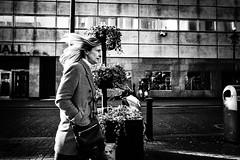 Hairsbreadth (Kieron Ellis) Tags: woman walking road wall building windy hair bike window bag plant bin street candid contrast light blackandwhite blackwhite monochrome
