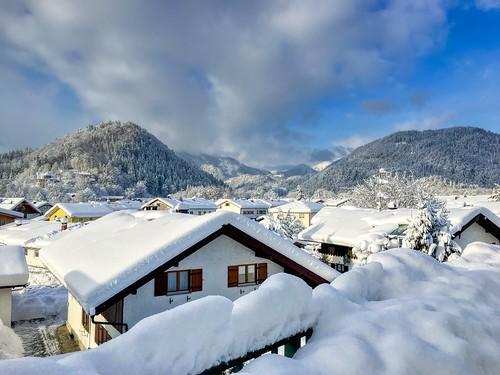 Snow covered Kiefersfelden, Bavaria, Germany