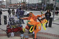 Bubble Up, Kenny (Generik11) Tags: people clowns bubbles balloons ballpark kennytheclown oraclepark streetcorner cars sfgiants sf