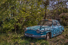 Bronzette... (L'empreinte du temps) Tags: aventure oublié souvenir memoire temps ancien manfrotto 60d old past passé exploring abandoned architecture abandonné exploration urbex france friche 2018 canon decay patrimoine travel culturel closed rouille ruine car oldcar voiture graveyard nature panhard