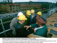 """building team Hackney (hoffman) Tags: asian black canal cars helmets home horizontal house males old race roofing scaffolding sikh site timbers trees davidhoffman wwwhoffmanphotoscom london uk davidhoffmanphotolibrary socialissues reportage stockphotos""""stock photostock photography"""" stockphotographs""""documentarywwwhoffmanphotoscom copyright"""