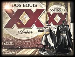 Dos Equis & Dos Batman. (e5) (Mega-Magpie) Tags: motorola moto e5 indoors action hero batman cerveza beer dos equis xx ambar import cerveceria moctezuma mexico fun