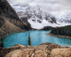 A Computer Painting of Moraine Lake from the top of the Rockpile (PhotosToArtByMike) Tags: morainelake banff banffnationalpark rockpile digitalpainting digitalart painting photopainting digitalpainted computerart computerpainting valleyofthetenpeaks canadianrockies albertacanada mountain mountains emeraldlake bluegreen turquoisecoloredwater